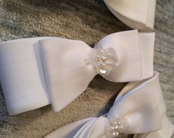Set of Six Beaded White Satin Bridal Bows - With Seed Pearls And Sequins
