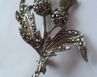 Fabulous Vintage Unsigned Small Marcasite Thistle Brooch/Pin