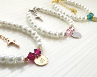 Children's pearl bracelet with cross, baby girl or baby boy personalized christening baptism gift, first communion gift, custom baptism gift