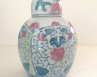 Vintage Green and Pink Chinoiserie Ginger Jar, Palm Beach Hollywood Regency