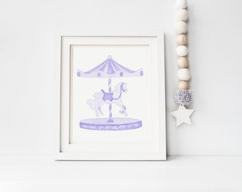 Hand-painted violet watercolor carousel, nursery art, girls room, NOT A PRINT!