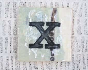 Anthropologie Inspired, Bohemian, Lowercase Letter x Painting: Encaustic Collage