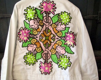 Tiki NewTribal OOAK folk art patch on white jeans jacket size small.