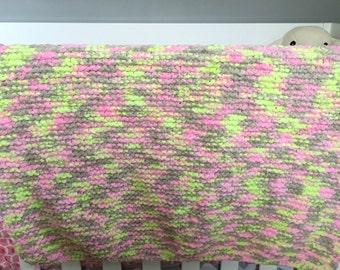 Large Knit Blanket, Cuddly Soft Blanket, Pink, Green, Grey, Crochet Blanket, Lap Blanket, Chenille, Baby Shower Gift, OOAK