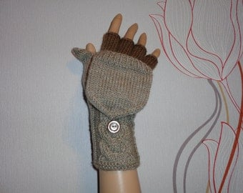Handknitted oatmeal with brown color accent  women convertible fingerless gloves to mittens with buttons
