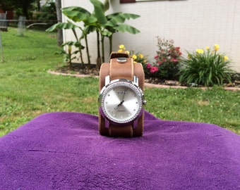 Women's Tan/Brown Leather Cuff Watch