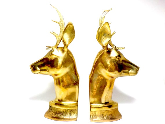 Bookends brass buck bookends brass deer by thevintageporch for Decorative crafts inc brass
