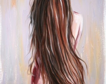 Original 12 x 16 inch oil painting of a woman's hair by Meredith O'Neal