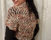Knitted bolero, woven knitting sleeves, knitted jacket, women girls bolero