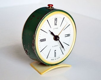 Vintage Soviet Alarm Clock, Retro Alarm Clock, Very Old Alarm Clock, shabby chic alarm clock