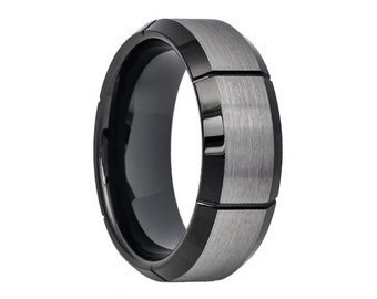 Tungsten Wedding Band 8mm Two Tone Black Wedding Band Black Tungsten