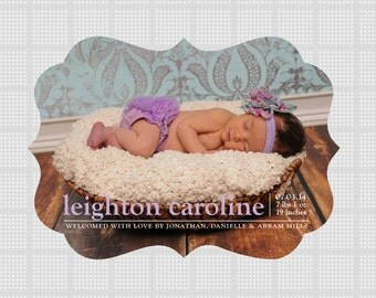 Ornate Framed Birth Announcements, Ornate Printing, Magnet Printing,