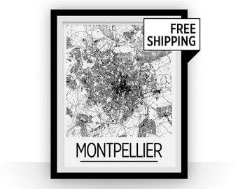 Montpellier Map Poster - france Map Print - Art Deco Series