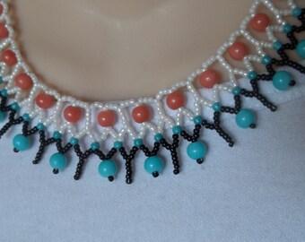Peach, aqua handmade collar necklace