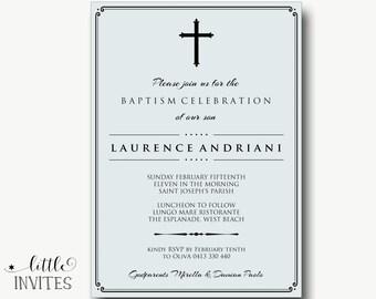 Elegant Boys baptism invitation/printable christening invitation/Boys Baptism/Blue/Confirmation Invitation/First Holy Communion-Laurence