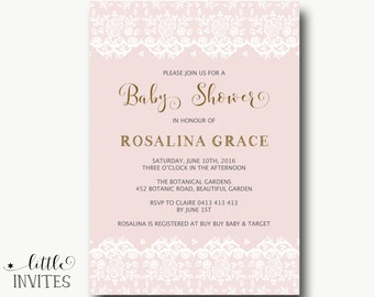 Baby Shower Invitation/Pink and Gold Baby Shower invitation/Lace Baby Shower invitation/Girl baby shower/Baptism Invitation-Rosalina