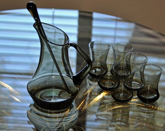 Vintage Smoked Glass Pitcher, Stirrer and 6 Cordials
