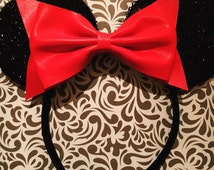 Fashion Red Cute Bow Tie inspired Black Sparkle Minnie Mouse Headband Ears