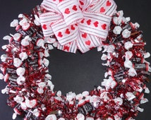 Tootsie Roll Candy Wreath Edible Chocolate Valentine Unique Gift Decoration Centerpiece