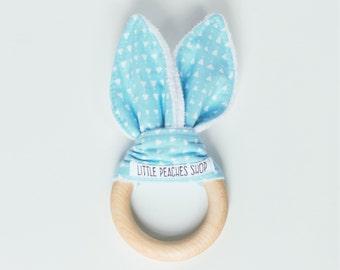 Bunny Teether Lovie Easter Bunny Baby Easter Basket Wooden Teether Baby Gift Baby Teether Wood Teether Teething Toy Bunny Ear Teether Lovies