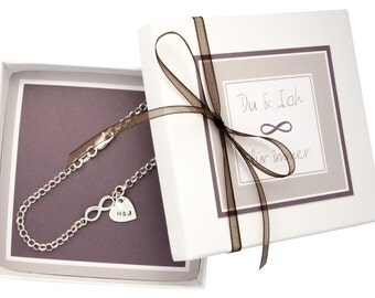 Infinity, 925 silver bracelet with engraved heart