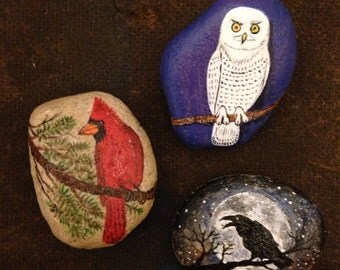 Painted Rocks Owl Crow Cardinal for Kate Custom Order