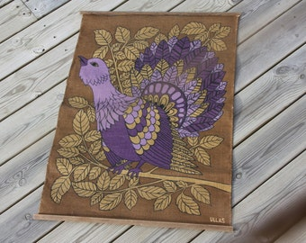 Printed walhanger from 1970  with bird in jute cloth from Sweden