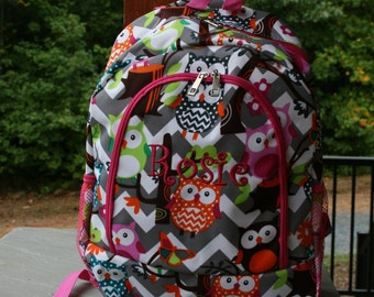 Girls Monogrammed Owl Backpack Gray Chevron Girls Personalized Book Bag Custom Embroidered Name or Initials