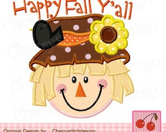 Happy fall y'all Scarecrow Machine Embroidery Applique TH0027 -4x4 5x5 6x6 inch-Machine Embroidery Applique Design