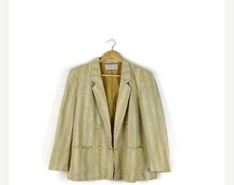 STORE WIDE SALE Vintage Beige x Yellow  Stripe Linen Blends Blazer  from 1980's*