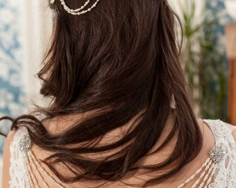 Lace triple comb headpiece vintage pearl drapes