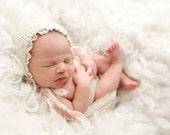 Ivory knit bonnet , Newborn Photo Prop bonnet ,Baby girl cream bonnet