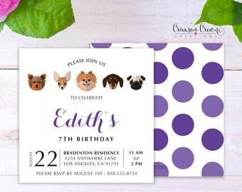 Adopt a Puppy Child's Birthday Invitation - Baby, Toddler, Kid's Dog Birthday Party Invite - Doggie Party - Digital File