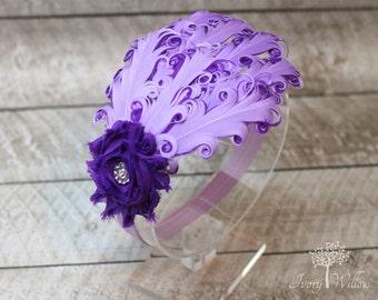 Lavender and Purple Feather Headband - Purple Feather Headband - Lavender Headband- Baby Headband - Adult Headband - Feather Headband