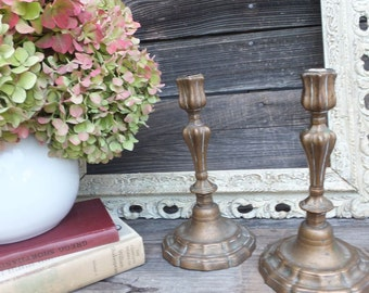 Pr. Vintage Brass Candlesticks, Brass Candlesticks, Home Decor, Romantic Lighting