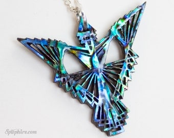 Phoenix Necklace - Abalone or Mother of Pearl Phoenix Pendant