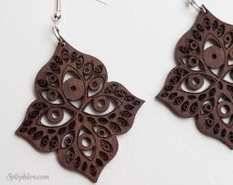 Eye Earrings - Wood Eye Earrings - Consciousness Jewelry - Awareness Earrings- Laser Cut