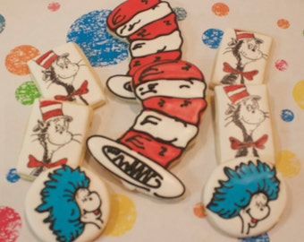Dr. Seuss Character Cookies, Cat In the Hat Cookies, Grinch Cookies, Horton Cookies, Lorax Cookies, Dr. Seuss Cookies