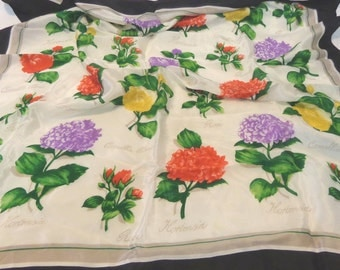 Club 7 Echo square silk scarf botanical floral on white black border rolled hem signed tags 31 inches vintage