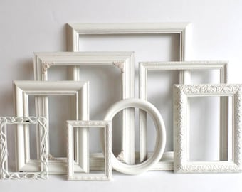 Cottage White PICTURE FRAMES Set - Nursery Frames - Wedding - Vintage Collection - Shabby Chic - Distressed - Gallery Wall