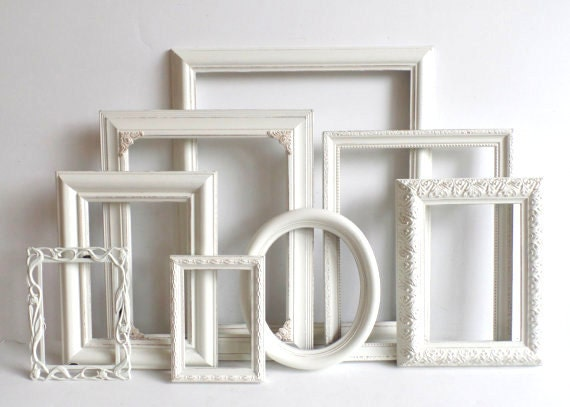 cottage white picture frames set nursery frames wedding. Black Bedroom Furniture Sets. Home Design Ideas