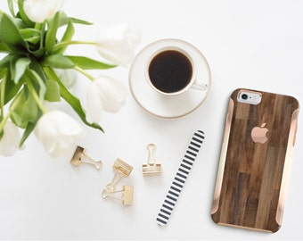 Platinum Edition Dark Untreated Wood with Rose Gold Detailing Hybrid Hard Case Otterbox Symmetry for the iPhone 6/6s, iPhone 6/6s Plus