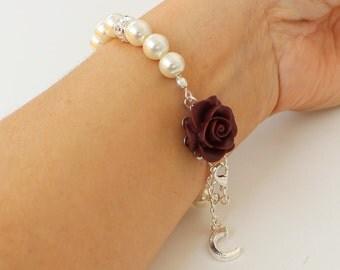Pearl bracelet, burgundy wedding, personalized bracelet, burgundy bridesmaid bracelet, burgundy pearl bracelet