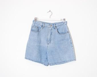 high waist blue jean shorts / light wash denim shorts / size 28