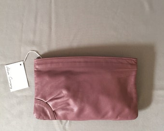 SALE...mauve pink leather clutch | 80s supple leather clutch