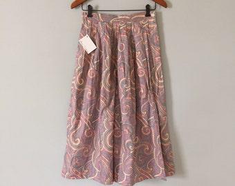paisley cotton skirt | pastel hues frilled midi skirt