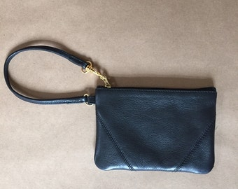 black leather wristlet pouch | small leather clutch