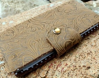 Tooled Leather Checkbook Cover, Light Brown Faux Leather Coupon Wallet