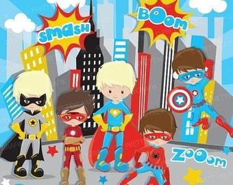 80% OFF SALE Superhero boys clipart commercial use, superhero kids vector graphics, digital clip art, digital images - CL883