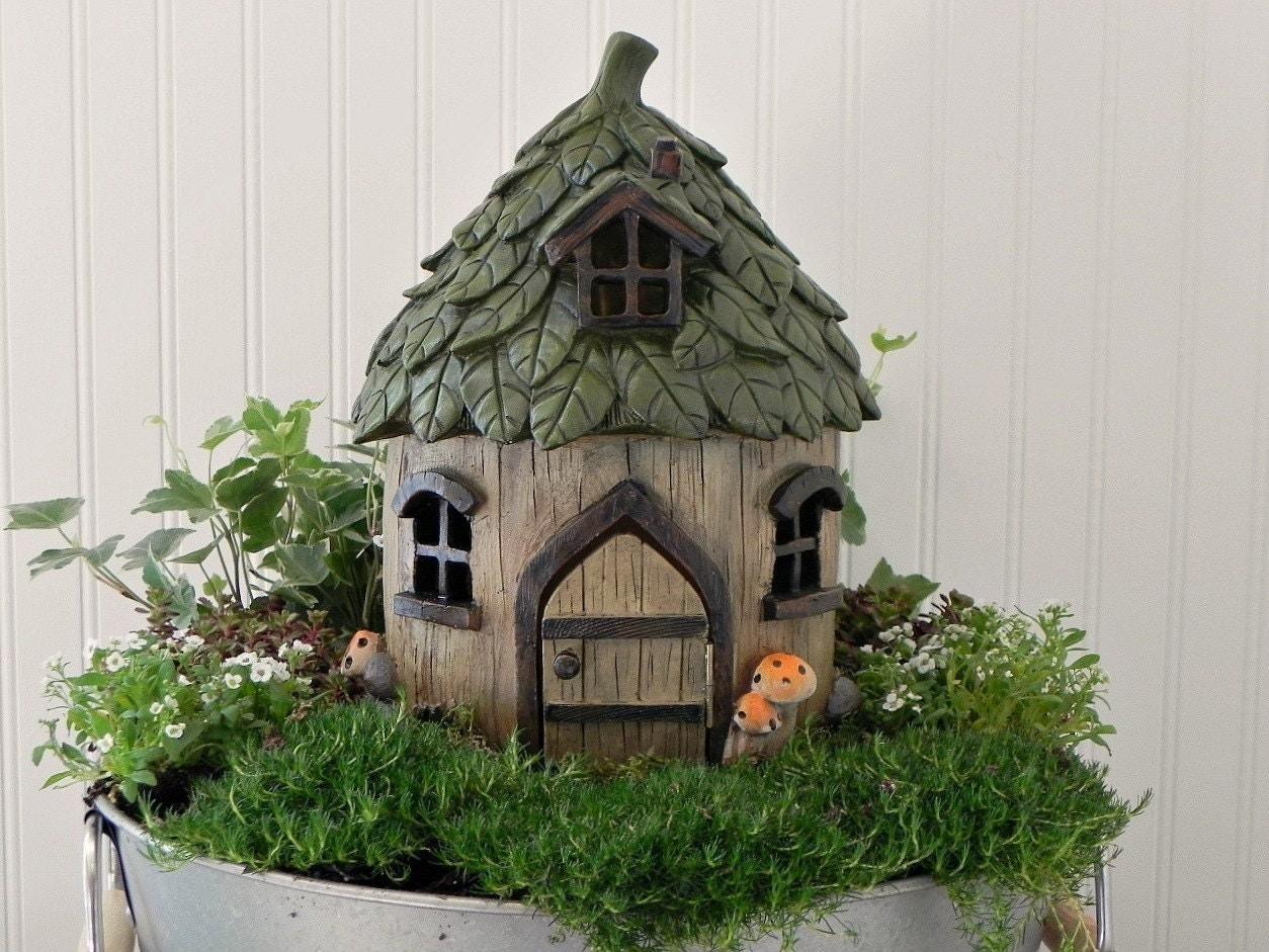Garden house kit - Fairy House Large Fairy Garden Cottage Leaf Style Roof Fairy Garden Supply